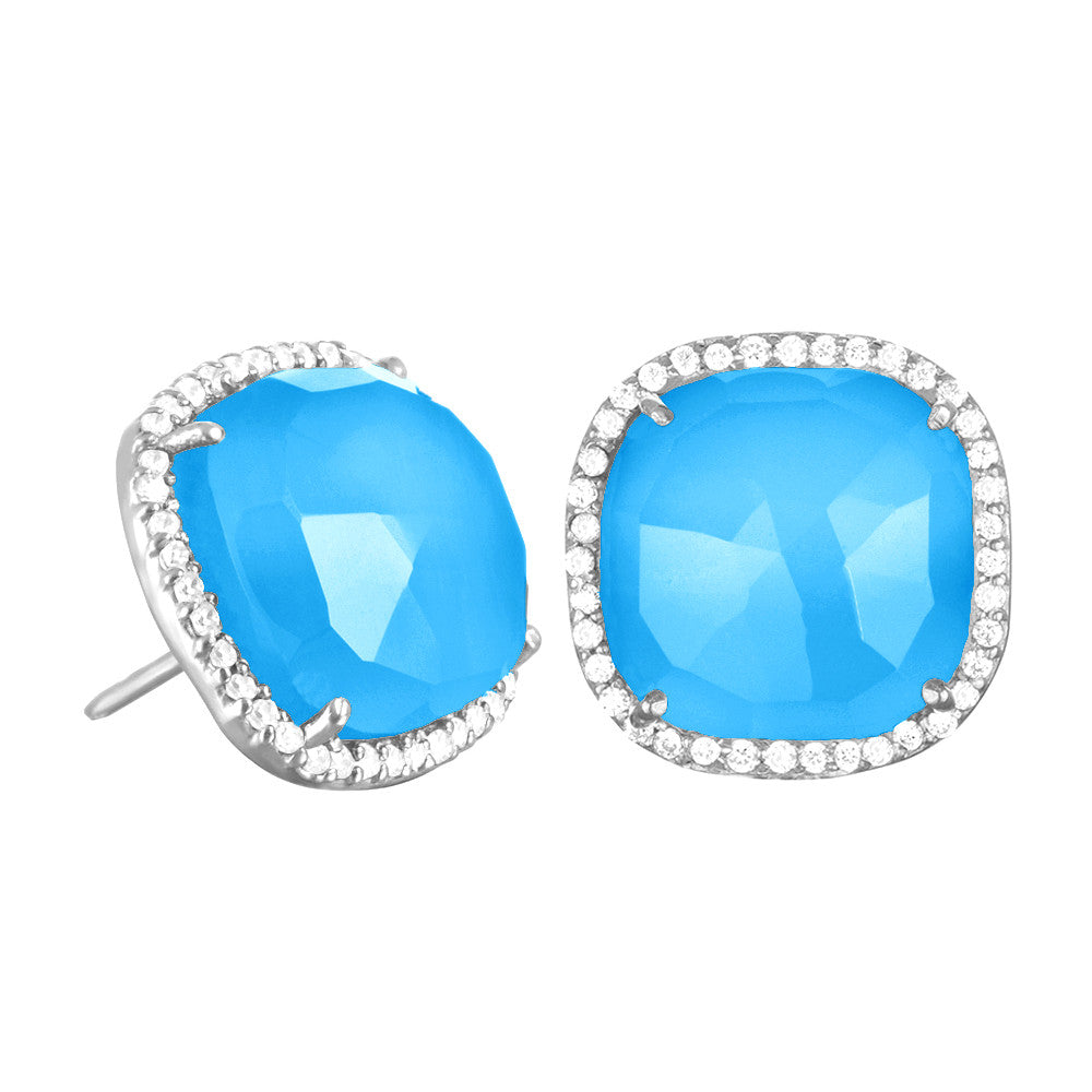 Paris Stud-Turquoise with Clear Silver