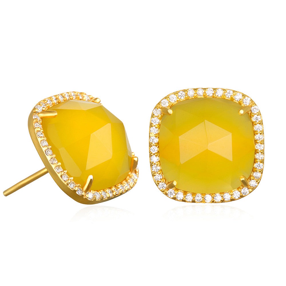 Paris Stud-Yellow with Clear Gold