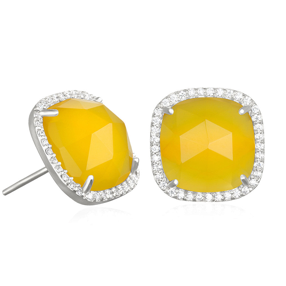 Paris Stud-Yellow with Clear Silver