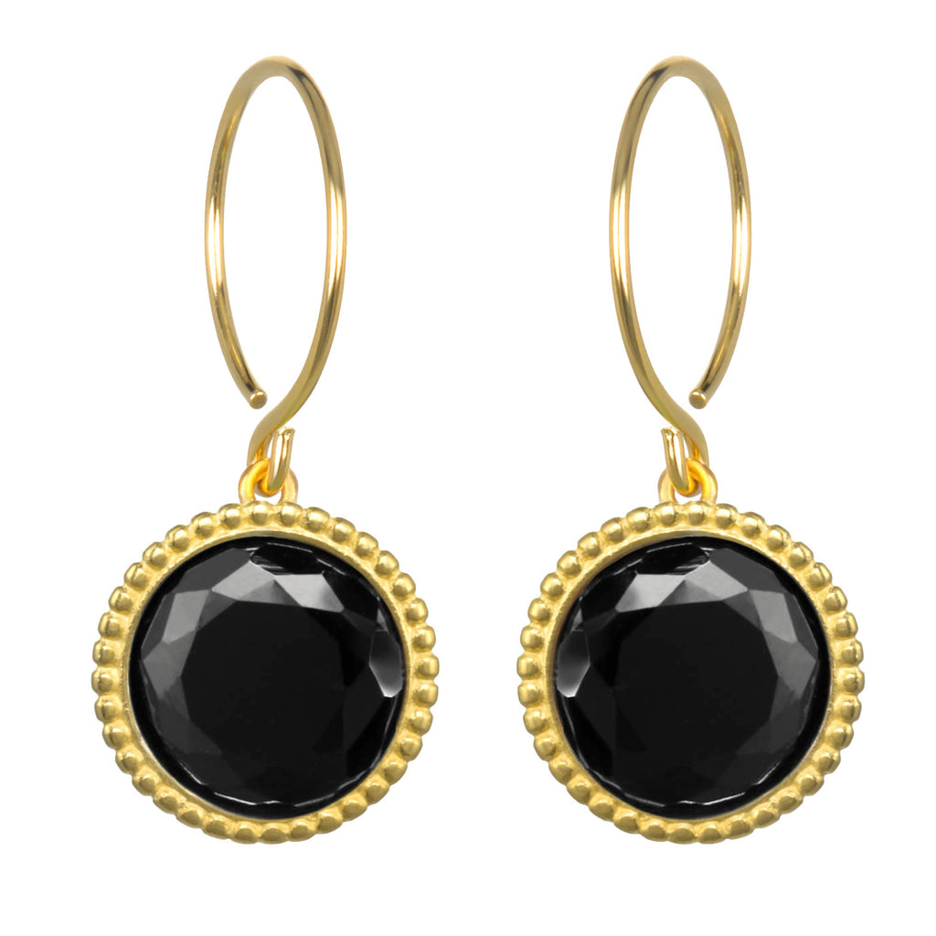 Daphne Earring-Black Spinel Gold