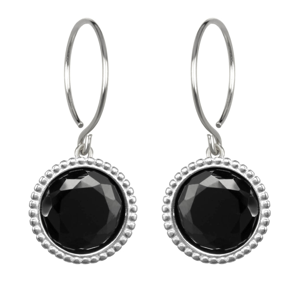 Daphne Earring-Black Spinel Silver