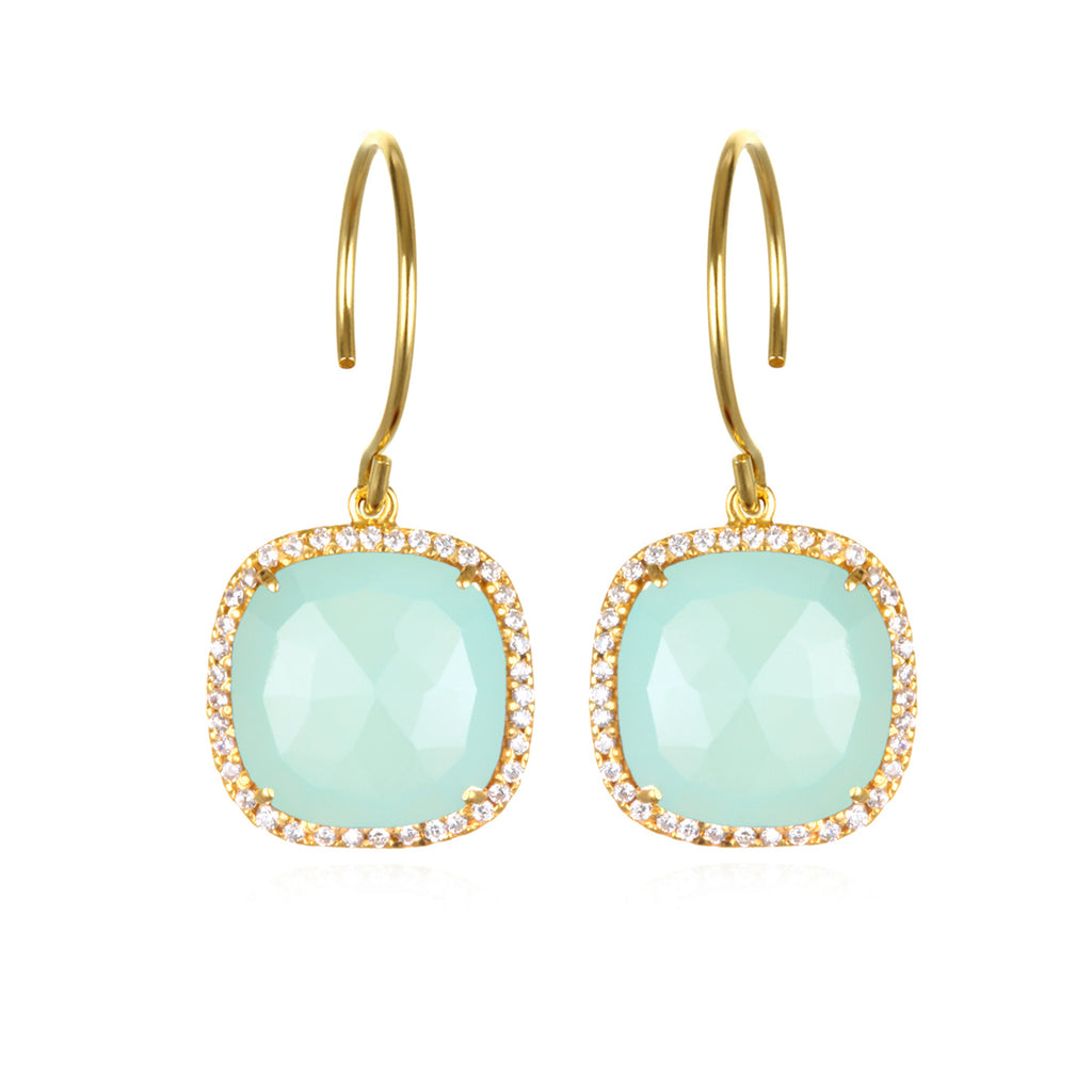 Paris Cushion Cut-Aqua with Clear Gold