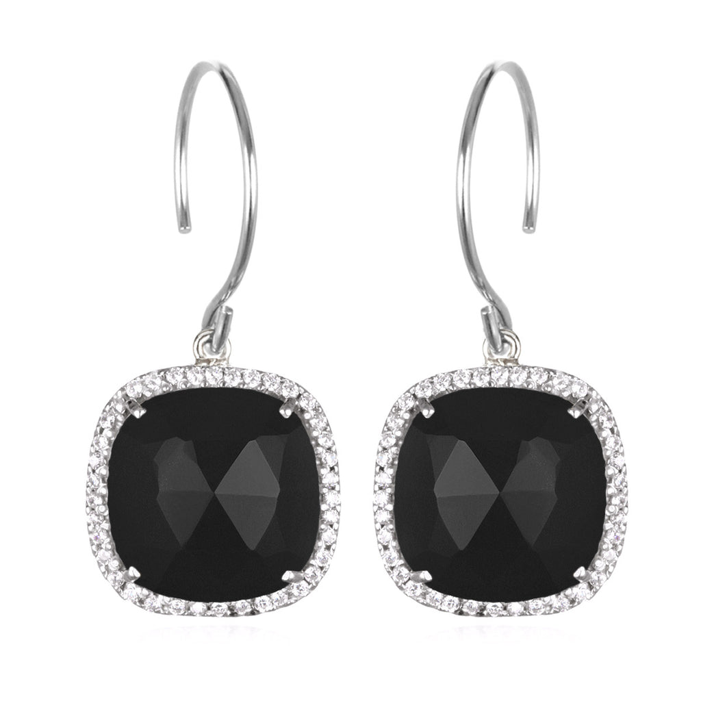 Paris Cushion Cut-Black and Clear Silver