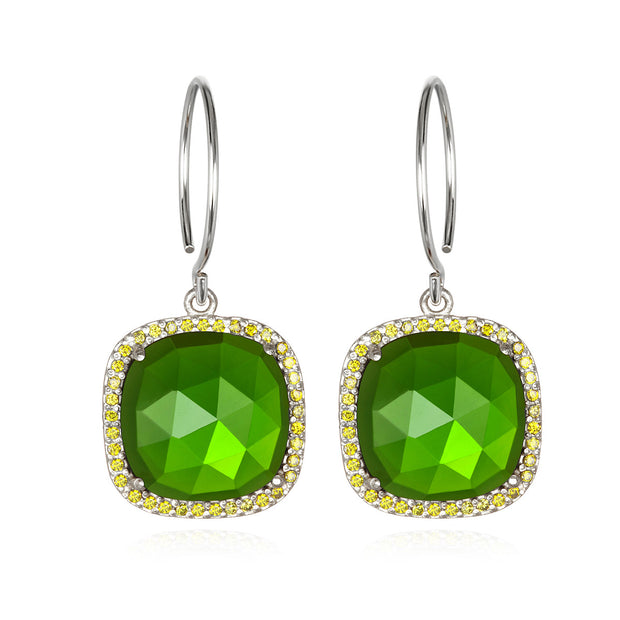 Paris Cushion Cut-Lime Green Silver