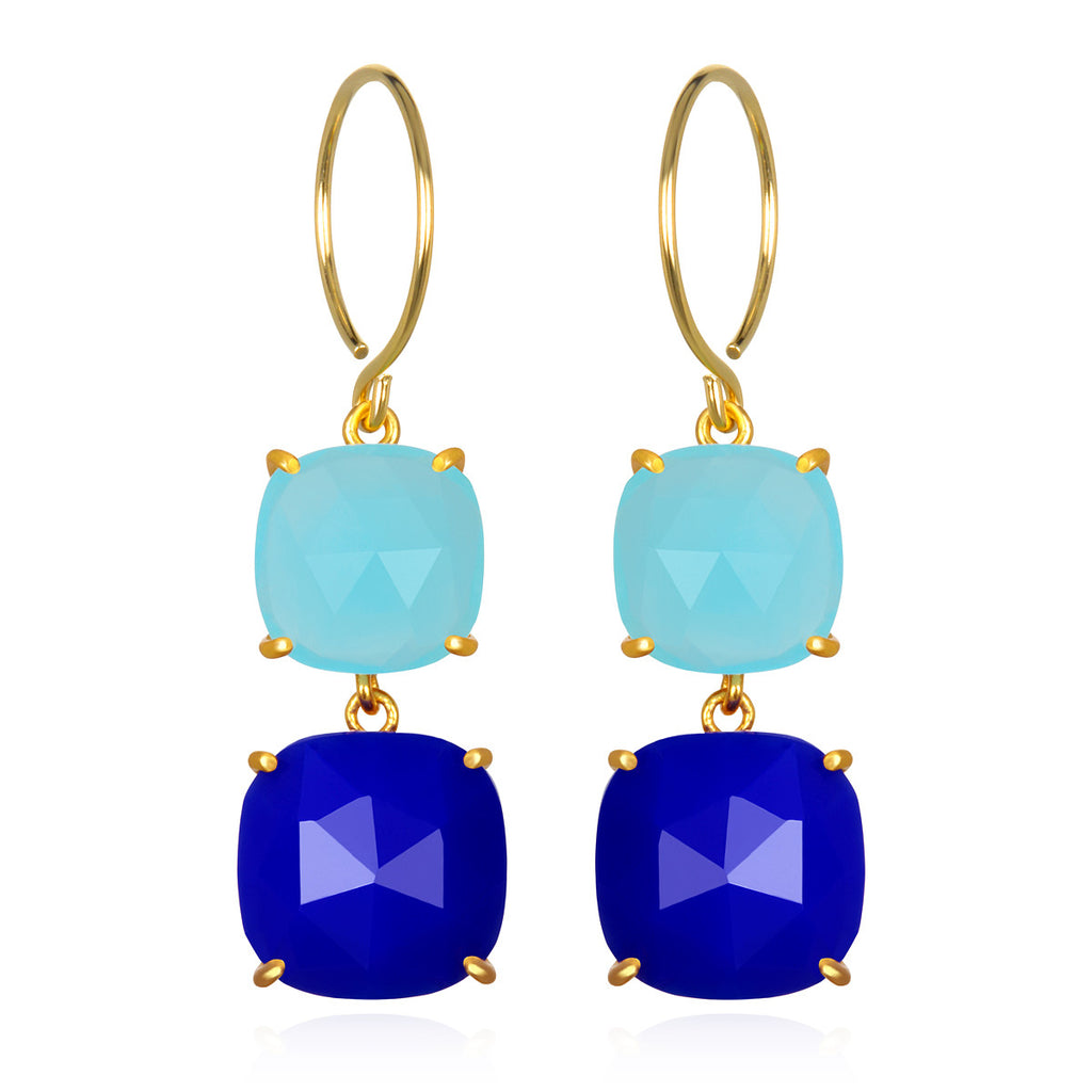 Catalina Double Cushion Aqua & Blue Chalcedony Gold