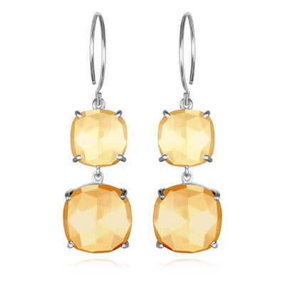 Catalina Double Cushion Citrine Sunflower Silver
