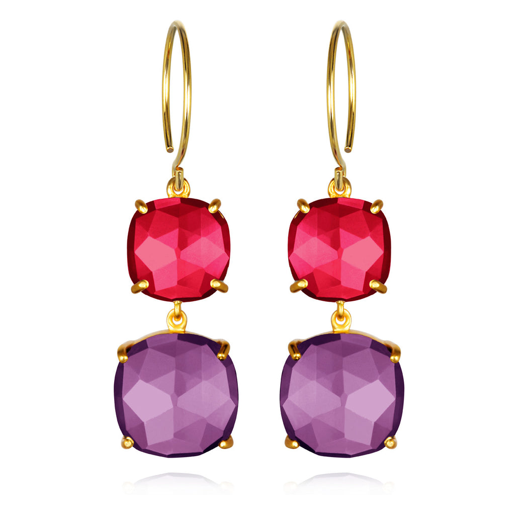 Catalina Double Cushion Ruby Violet Gold