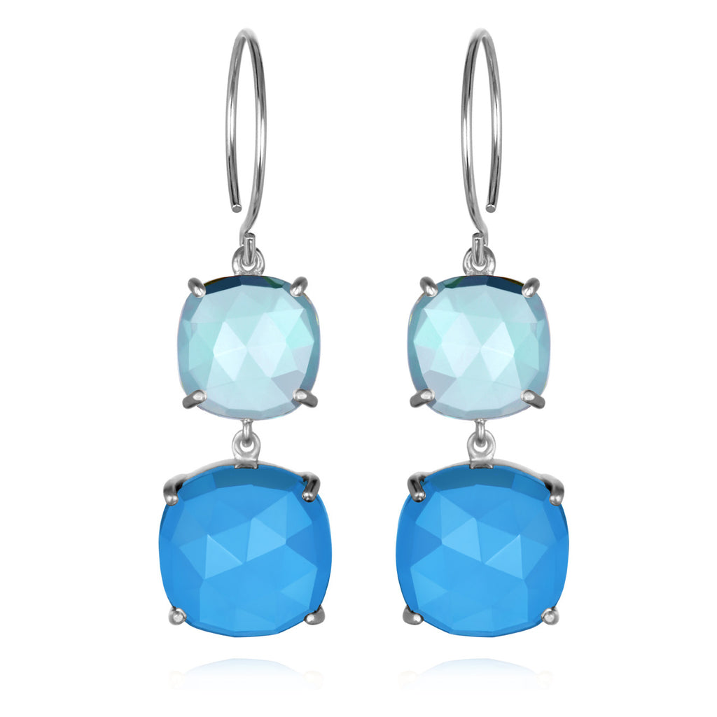 Catalina Double Cushion Sky Blue Chalcedony Silver