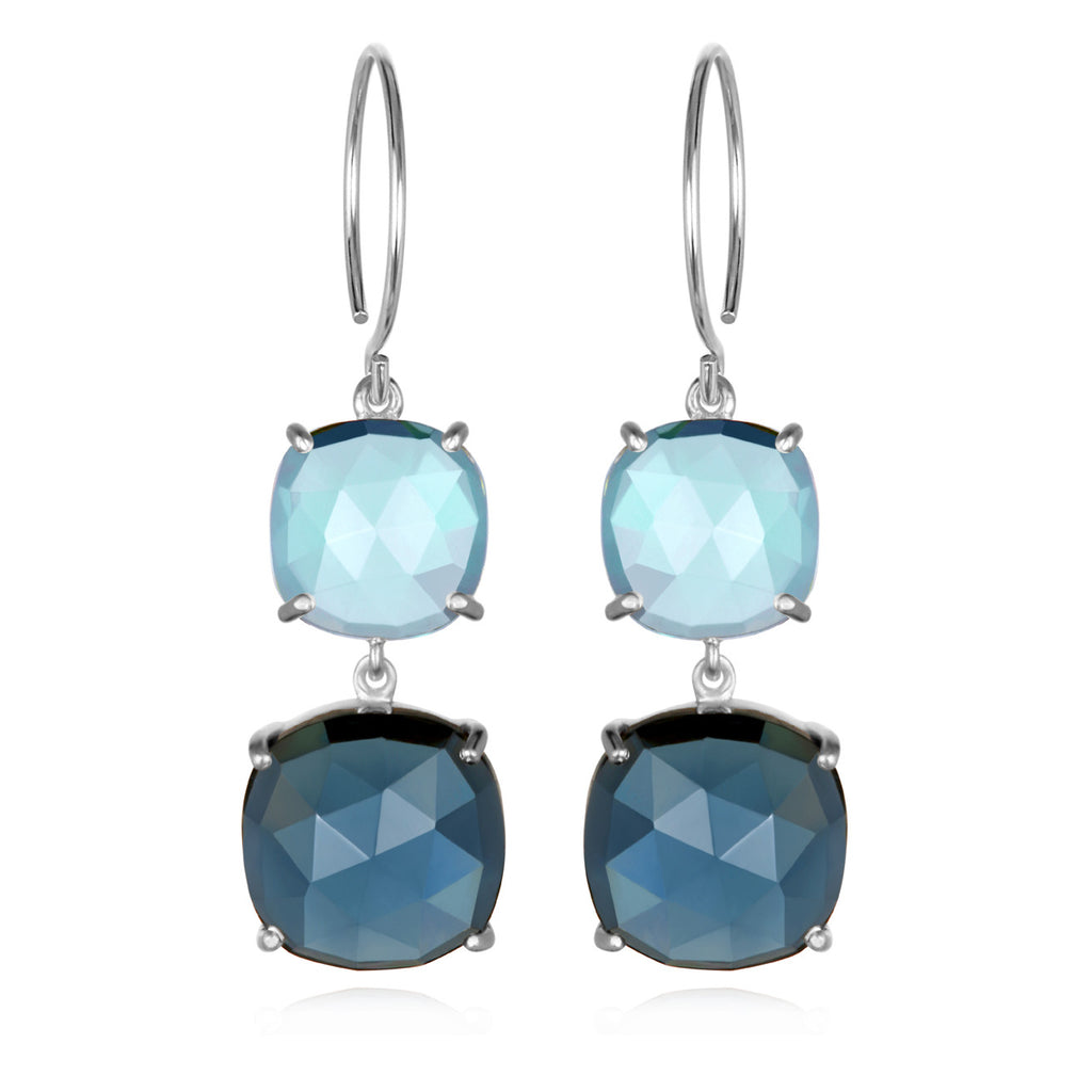 Catalina Double Cushion Sky Blue Sapphire Silver