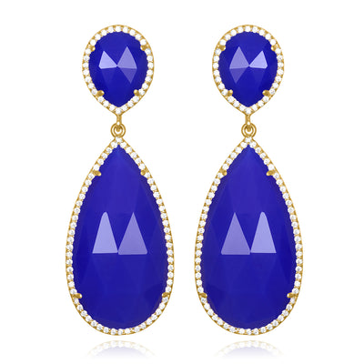 Paris Double Teardrop Earring - Dark Blue Gold