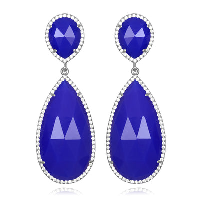Paris Double Teardrop Earring - Dark Blue Silver