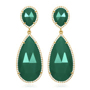 Paris Double Teardrop Earring - Dark Green Gold