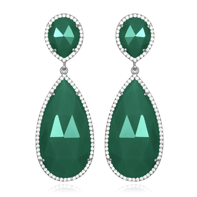 Paris Double Teardrop Earring - Dark Green Silver
