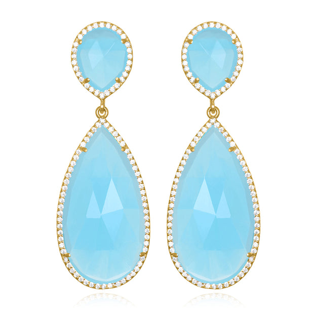 Paris Double Teardrop Earring - Light Blue Gold