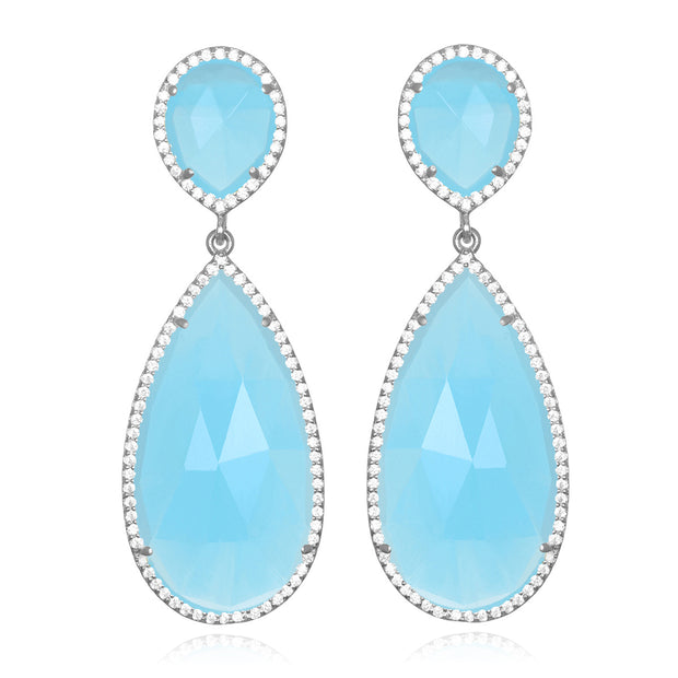 Paris Double Teardrop Earring - Light Blue Silver