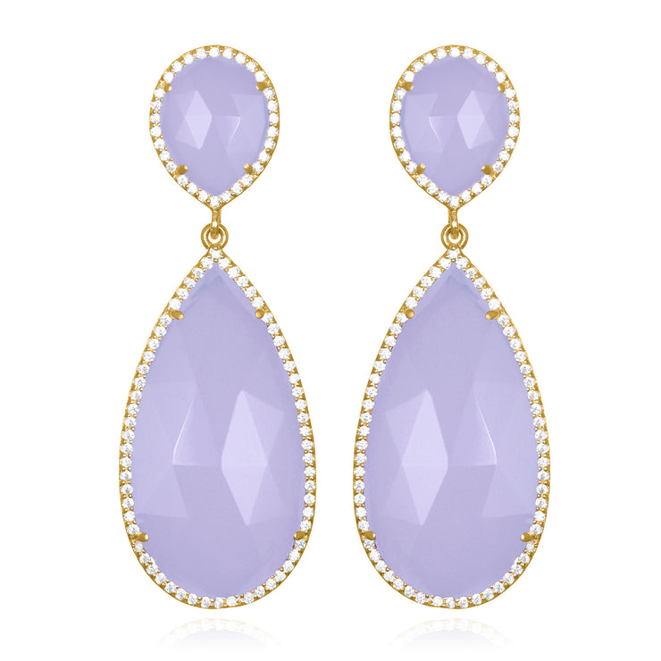 Paris Double Teardrop Earring - Purple Gold