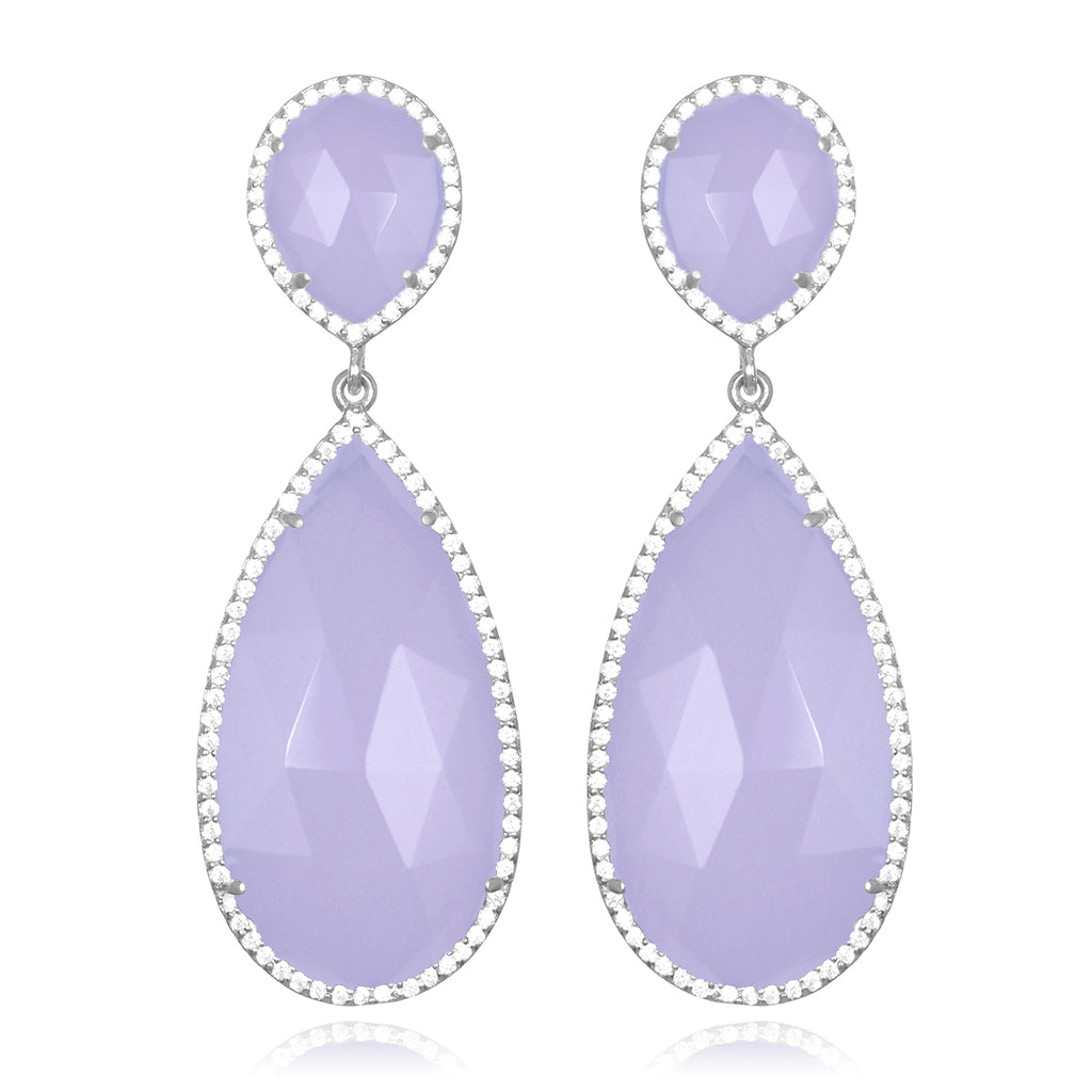 Paris Double Teardrop Earring - Purple Silver