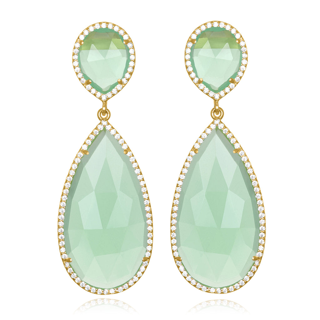 Paris Double Teardrop Earring - Mint Gold