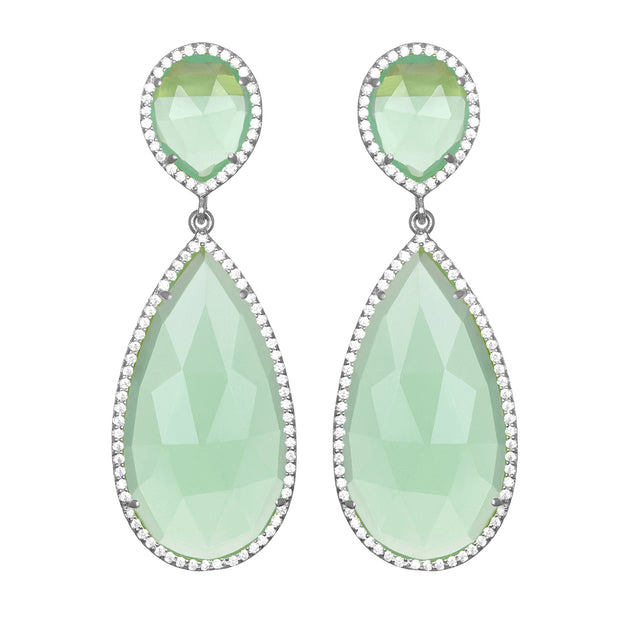 Paris Double Teardrop Earring - Mint Silver
