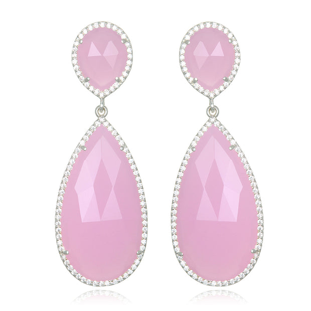 Paris Double Teardrop Earring - Pink Silver