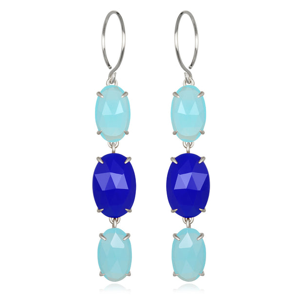 Catalina Triple Oval Earring Aqua & Blue Chalcedony Silver