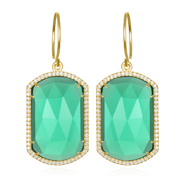 Paris Emerald Earring Aqua Gold