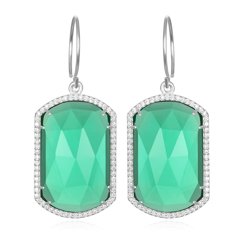 Paris Emerald Earring Aqua Silver