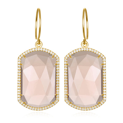 Paris Emerald Earring Peach Gold