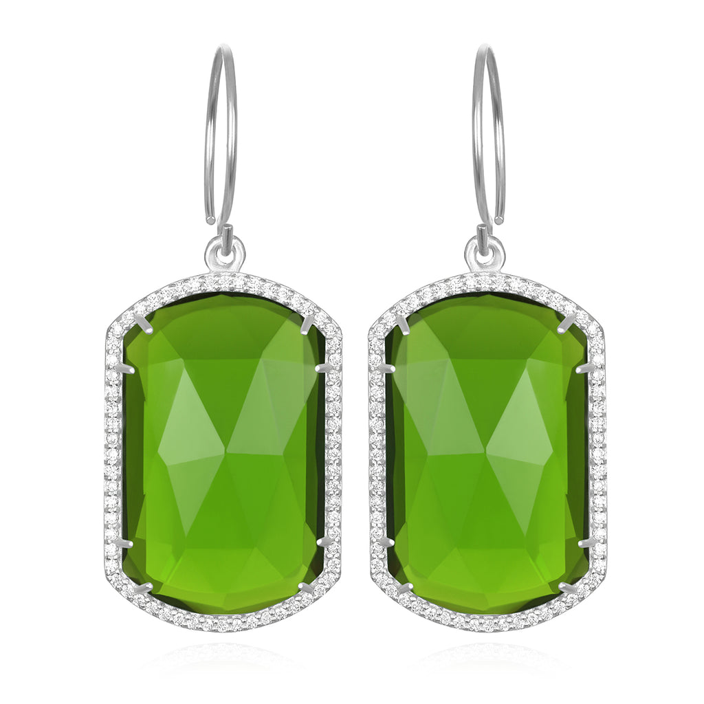 Paris Emerald Earring Lime Silver