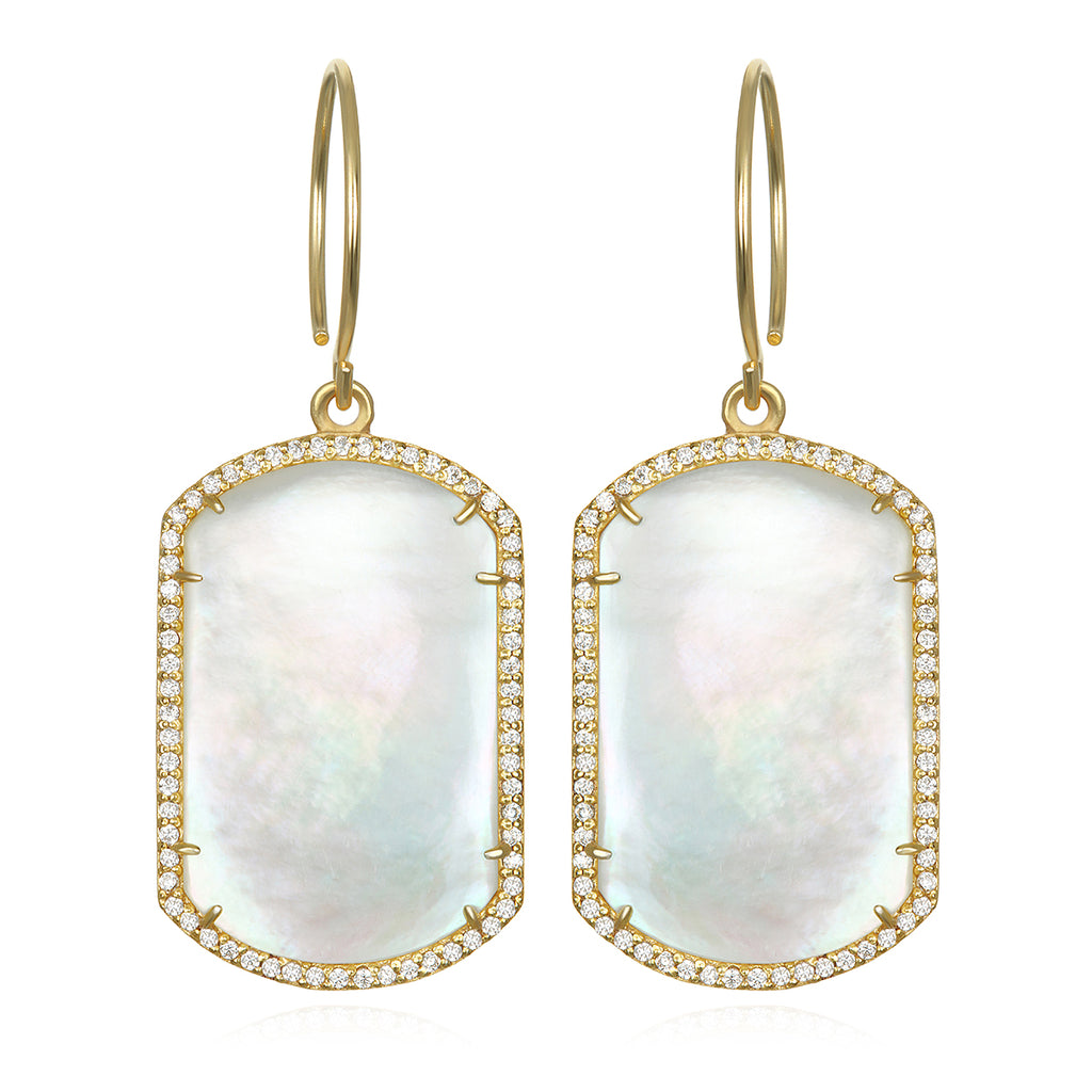 Paris Emerald Earring Mother of Pearl Gold