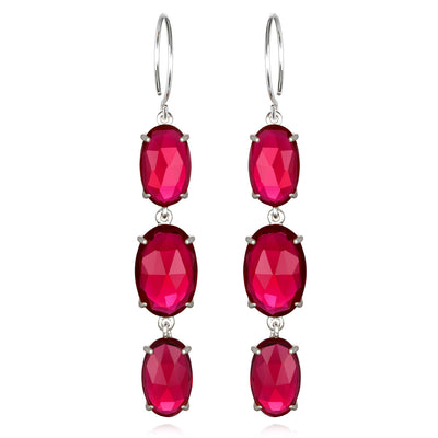 Catalina Triple Oval Earring Ruby Pink Silver