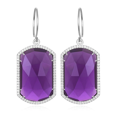 Paris Emerald Earring Violet Silver