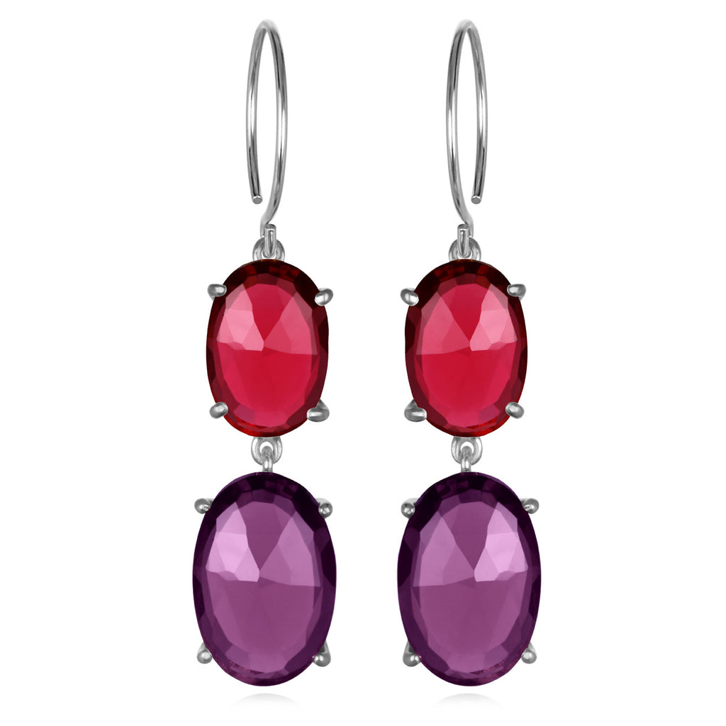 Catalina Double Oval Ruby Violet Silver