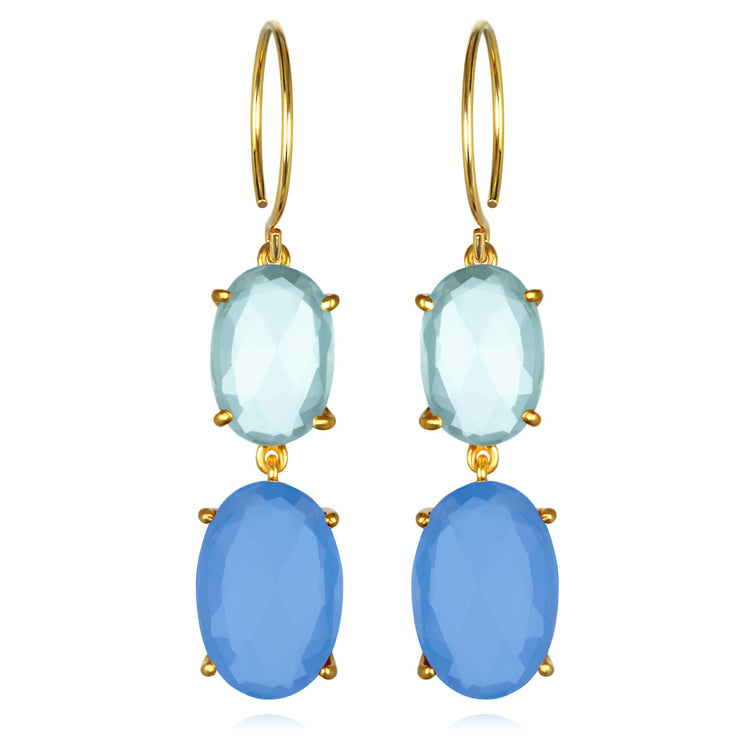 Catalina Double Oval Sky Blue Chalcedony Gold