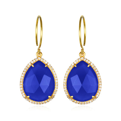 Paris Gem Teardrop - Dark Blue with Clear Gold