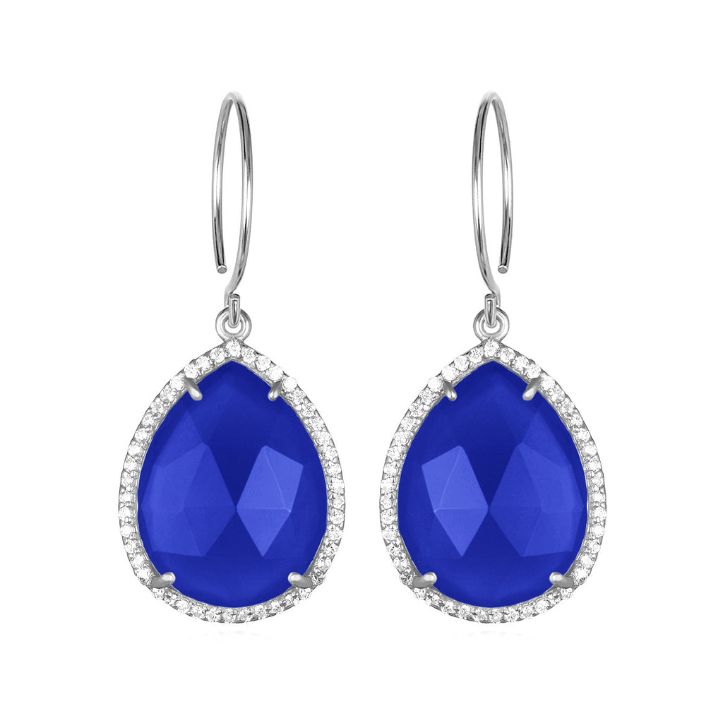 Paris Gem Teardrop - Dark Blue with Clear Silver