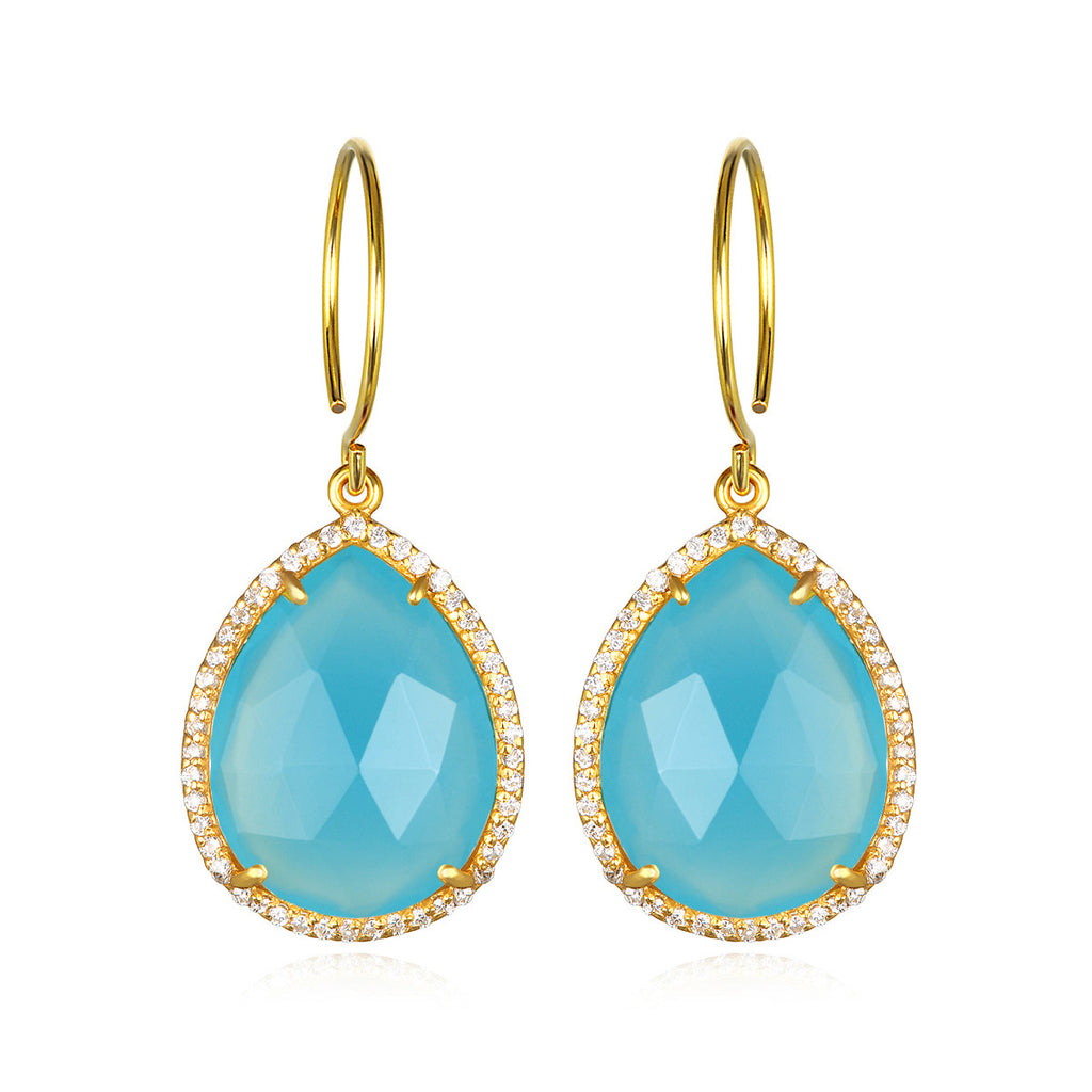 Paris Gem Teardrop - Light Blue with Clear Gold