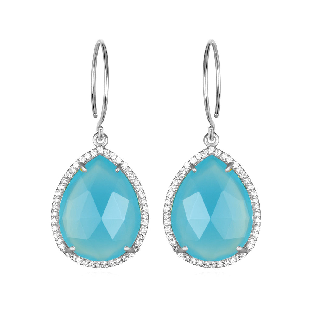 Paris Gem Teardrop - Light Blue with Clear Silver