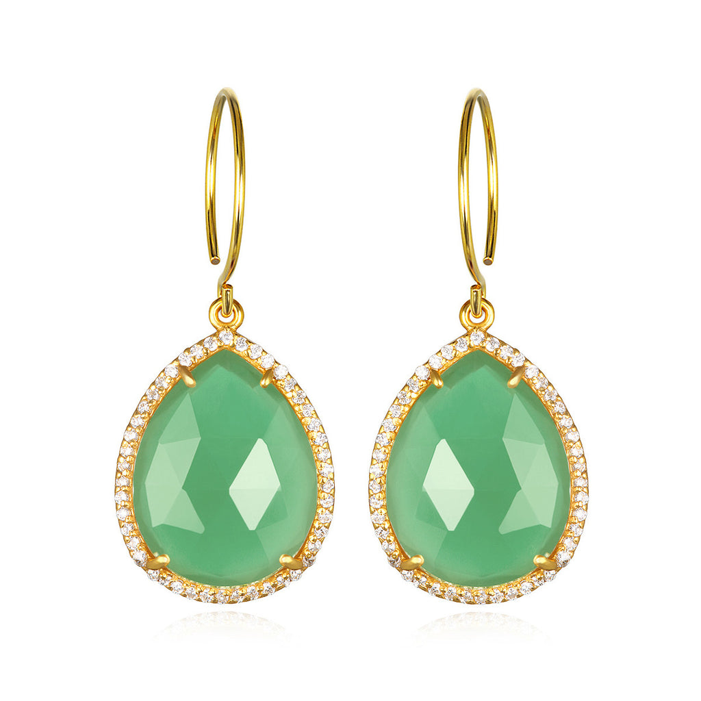 Paris Gem Teardrop - Mint with Clear Gold