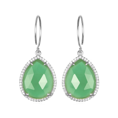 Paris Gem Teardrop - Mint with Clear Silver