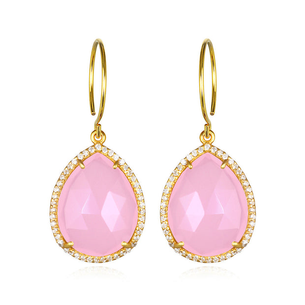 Paris Gem Teardrop - Pink with Clear Gold