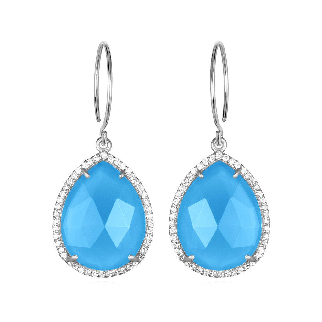 Paris Gem Teardrop - Turquoise with Clear Silver