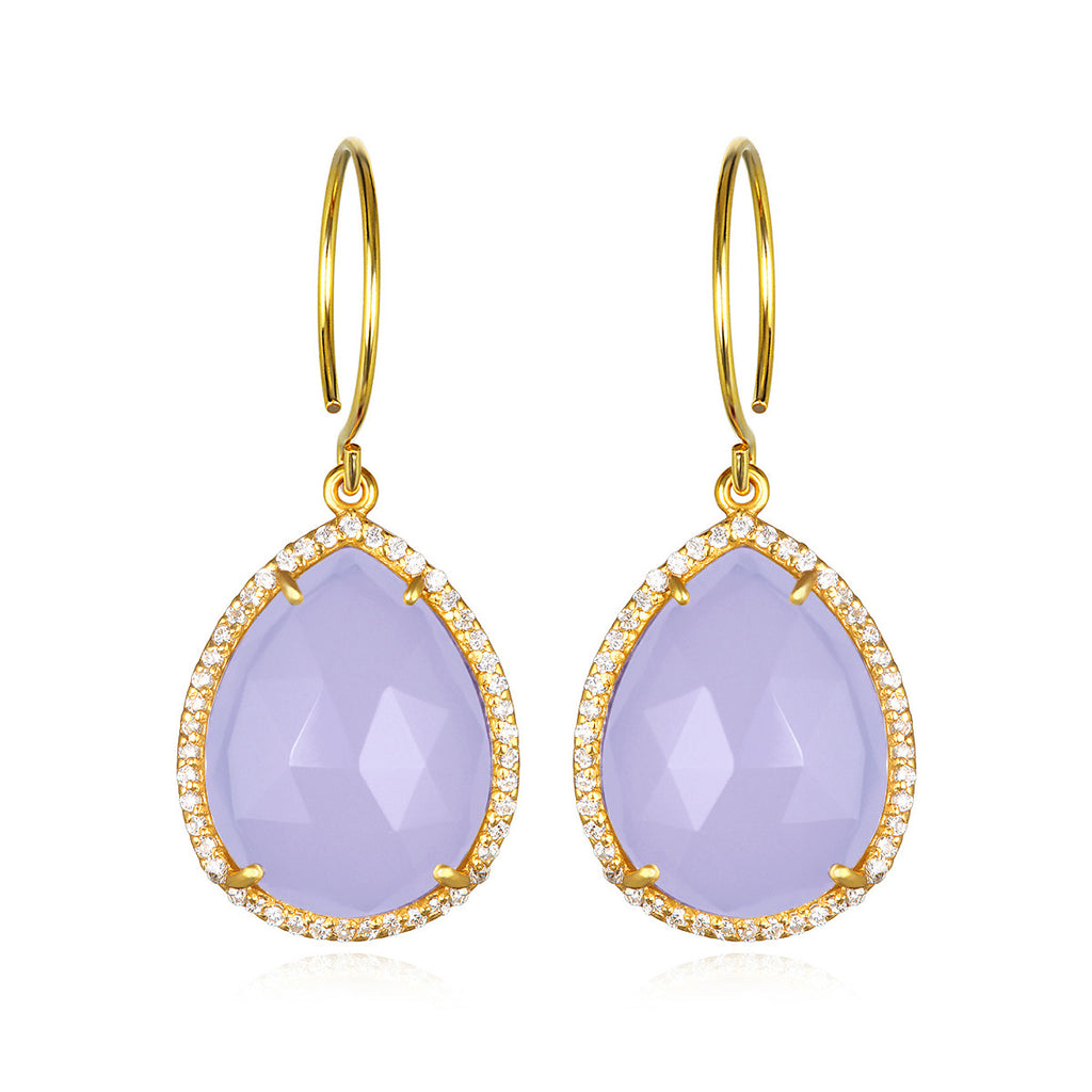 Paris Gem Teardrop - Purple with Clear Gold