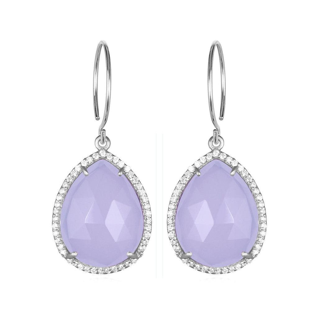 Paris Gem Teardrop - Purple with Clear Silver