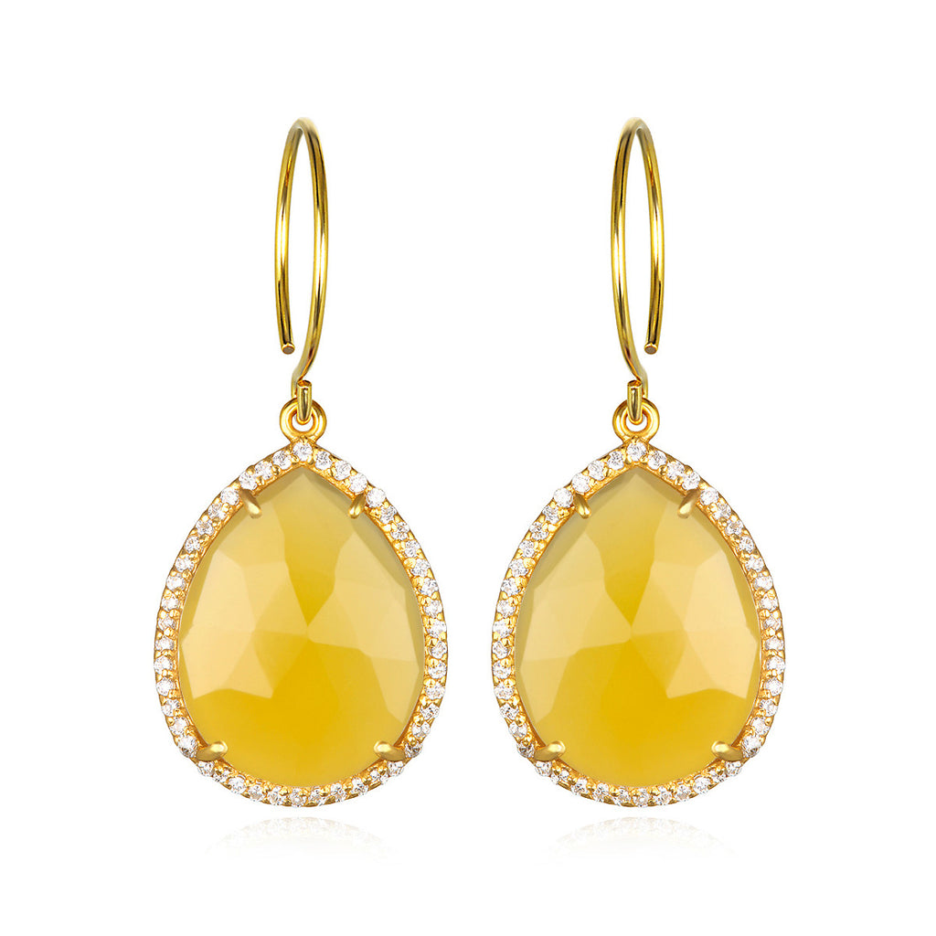 Paris Gem Teardrop - Yellow with Clear Gold