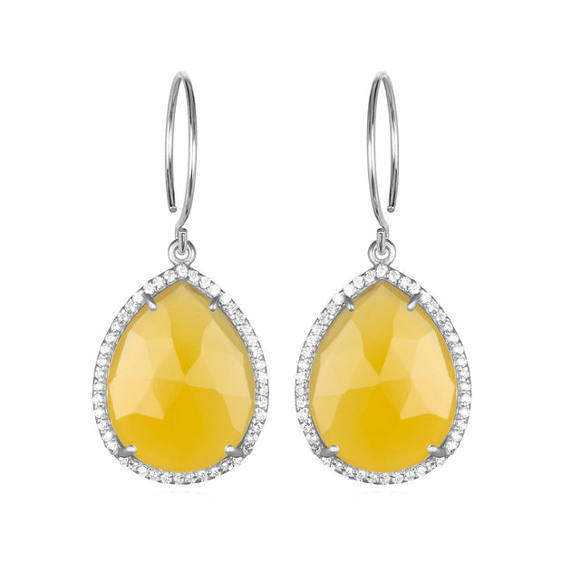 Paris Gem Teardrop - Yellow with Clear Silver