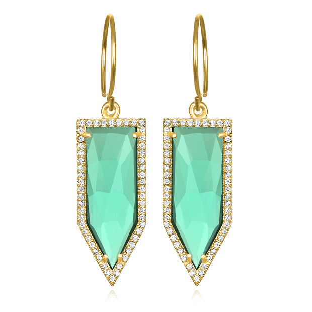 Paris Dagger Earring Aqua Gold
