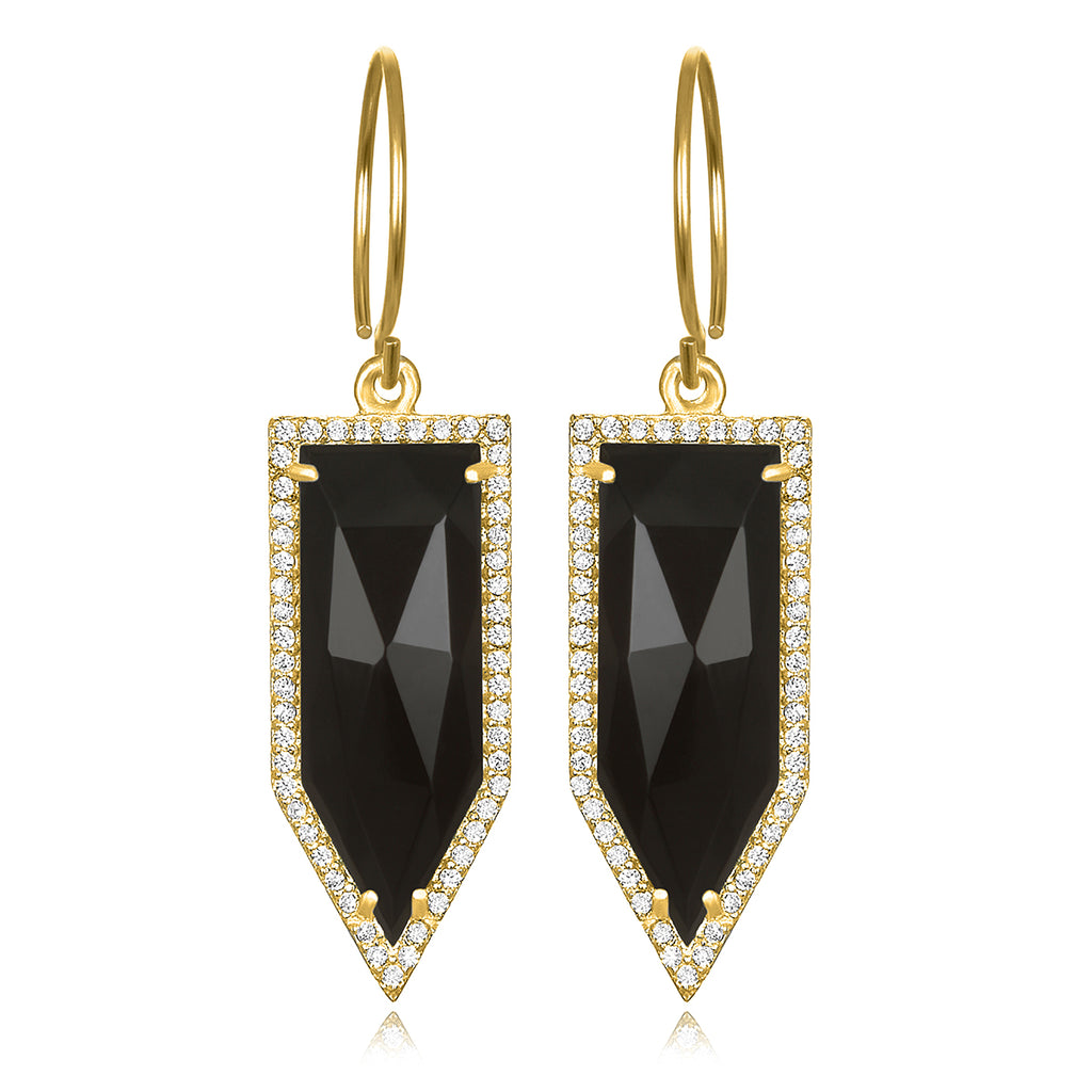 Paris Dagger Earring Black Gold