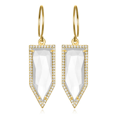 Paris Dagger Earring Crystal Quartz Gold
