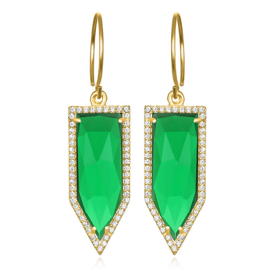 Paris Dagger Earring Emerald Gold